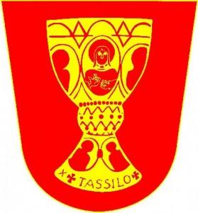 Wappen des Pfadfinderhorsten Tassilo, goldener Kelch auch roten Grund